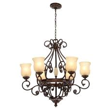 hampton bay freemont collection 6 light hanging antique bronze chandelier with glass shades