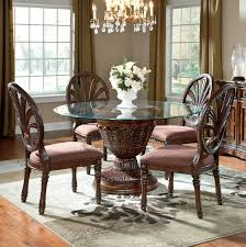 Royal Furniture Living Room Sets Ledelle 5 Piece Glass Top Table Set With Pierced Oval Back Chairs