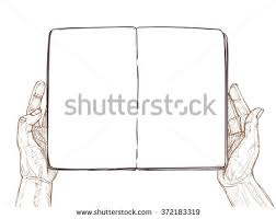 hand drawn vector ilration hands hold empty open book template for your design