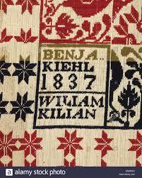 bed cover (Jacquard coverlet), Benjamin Kiehl (American, 1807-1895 ...