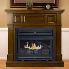 convertible vent free dual fuel fireplace in rich heritage