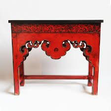 red entry table. Shop Our Console Tables At Mix Furniture! Red Mongolian Painted Scroll Table With Black Entry