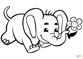 Cute Baby Elephant With Flower Coloring Page Free Printable