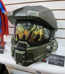 halo master chief motorcycle helmet up for order toy fair 2015