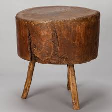 found in france this 19th century primitive thick round butcher block table mounted on