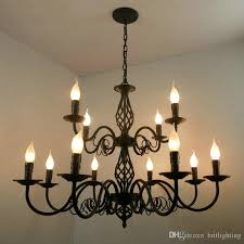 luxury rustic wrought iron chandelier e14 candle black vintage antique home led chandeliers for living room european pendant lamp lighting led chandeliers