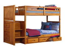Discovery World Furniture Twin over Twin Honey Mission Staircase Bunk Beds