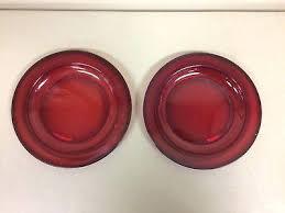 2 vintage ruby red glass 7 1 4 rimmed salad dessert plates dinner