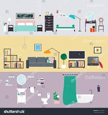 creative furniture icons set flat design. set of colorful vector interior design house rooms with furniture icons living room bedroom creative flat f