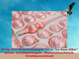 39 Tlg Glasweihnachtskugeln Set In Ice Rosa Silber Komet Christbaumkugeln