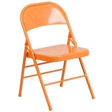 Home Depot Hercules COLORBURST Series Orange Marmalade Triple Braced U0026 Double Hinged  Metal Folding Chair
