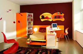 contemporary kids bedroom furniture green. Orange Accent Kids Bedroom Furniture Set With Integrated Bed And Study Desk Also Wardrobe Plus Bookshelf Contemporary Green N