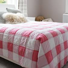 pink gingham quilted throw