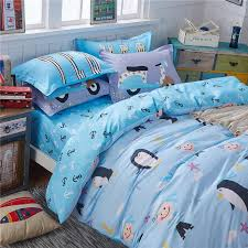 penguin turquoise bedding set sweet design for kids duvet cover set unique design bed sheet home textiles twin queen recommend french country bedding high