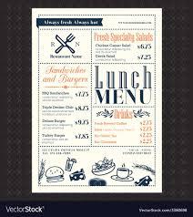 Restaurant Menus Layout Retro Frame Restaurant Lunch Menu Design Layout