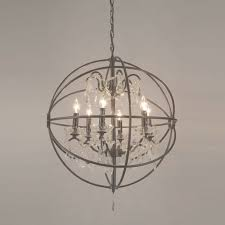lovable crystal orb chandelier foucaults iron 6 light for elegant throughout crystal globe chandelier
