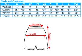 short size sports bottoms size chart sg