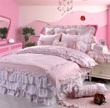 pink polka dot girls lace bowtie princess bedding