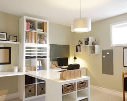 Home office - traditional built-in desk home office idea in Calgary