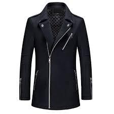 winter wool zipper trench coat men winter coat men size m l xl l xl black