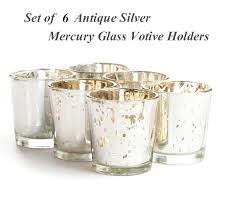 mercury glass votive holders set of 6 silver holder inches candle votives whole