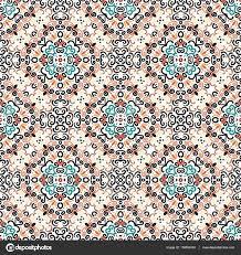 Bloemmotief Blauw Bruin Bloem Weave Elementen Stockvector