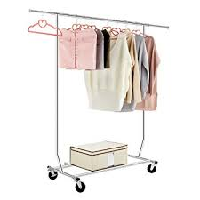 LANGRIA Heavy Duty Commercial Grade Garment Clothing Rack Supreme Rolling  Rack Steel Adjustable Clothes Rack