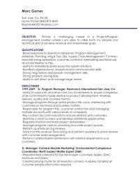 Manager Objective Resume The Letter Sample