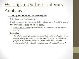 english iii of mice and men literary analysis outline i ex  writing an outline literary analysis i set up the clip lead