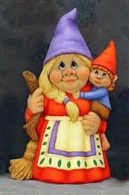 female garden gnome. Fine Female Mama Gertie Female Gnome W Little Boy Figurine  Ceramics Ready To Paint Throughout Garden