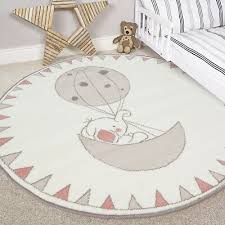 details about blush pink round bedroom rugs circle elephant baby girls boys nursery mats xmas