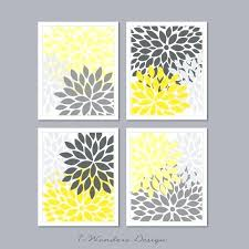 yellow and grey wall art modern abstract flower bursts set 4 5 x 7 8 x or x shades of grey yellow or tan or choose own colors modern home decor yellow
