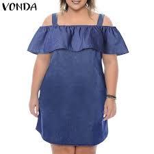 Summer Denim Dress <b>2021 VONDA Women</b> Sexy Off Shoulder ...