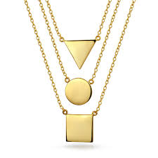 set of 3 round square triangle modern geometric pendant necklace for women 14k gold plated sterling silver 16 18 20 in