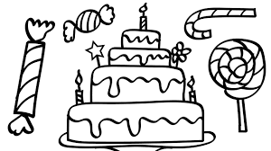Small Picture Birthday Cake and A Lot Of Candy Coloring Pages Kids Fun Art