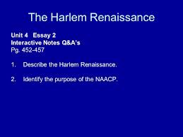 the harlem renaissance unit essay interactive notes q a s pg  the harlem renaissance unit 4 essay 2 interactive notes q a s pg