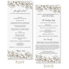 Microsoft Wedding Program Templates Instant Download Wedding Program Template Vintage Bouquet Mocha