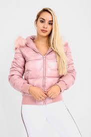 blush faux fur hooded puffer jacket
