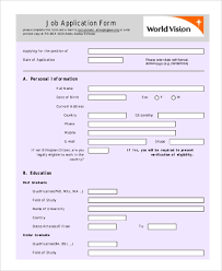 basic personal information form standard job application form samples 8 free documents in word pdf