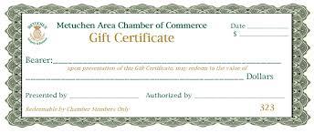 Gift Certificate Program Metuchen Area Chamber Of Commerce