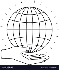Download Palm Chart Silhouette Hand Palm Giving A Globe Chart Charity