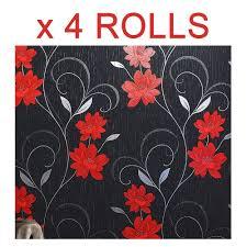 Red Flower Wallpaper Black Red Flower Wallpaper Glitter Floral Textured Effect Metallic