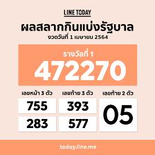 LINE Thailand - Official - ผลสลากกินแบ่งรัฐบาล งวดวันที่ 1 เมษายน 2564  ตรวจผลรางวัลอื่น คลิก https://lin.ee/rIqz2X9/vjky #LINETODAYTH #ปุ่ม4ในLINE  #สลากกินแบ่งรัฐบาล #ลอตเตอรี่