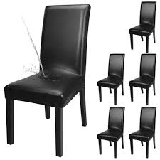 Yisun 4er6er Set Esszimmer Stuhlhussen Solide Pu Leder Wasserdichte Stretch Esszimmerstuhl Schutzhülle 6 Stück Schwarz