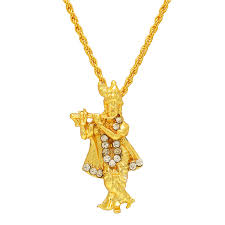 Krishna Pendant Designs In Gold Memoir Gold Plated Lord Krishna Religious God Pendant With Chain Locket Necklace Temple Jewellery For Men Women