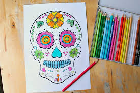 Includes a skull coloring page. Day Of The Dead Skull Coloring Sheets For Children Nurturestore