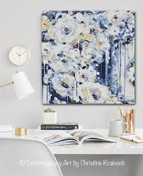 original art abstract painting modern floral navy blue white flowers roses fine art home wall decor  on large blue flower wall art with original art abstract painting floral navy blue white flowers wall