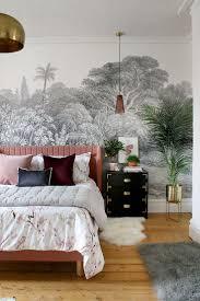 Schwarz Weiß Wandbild Schlafzimmer Mit Rosa Bett Und Gold