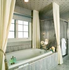 bathroom, Cool Bathroom Design Idea Using Marble Bathtub And Divine Cream  Curtain Color Also Vintage