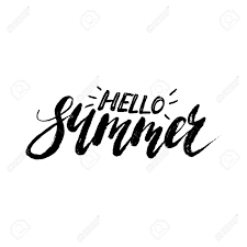 こんにちは夏 フリーハンド レタリングセールスアイディア インクしますモダンな乾燥筆ペン書道白い